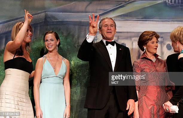 WASHINGTON DC President Bush and First Lady Laura Bush and daughters Jenna and Barbara attend the Black Tie and Boots Ball in Washington DC on...
