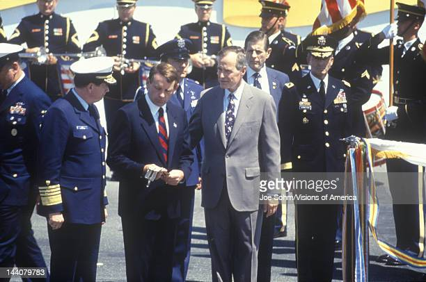 President Bush and military personnel during the Desert Storm Victory Parade in Washington DC 1991