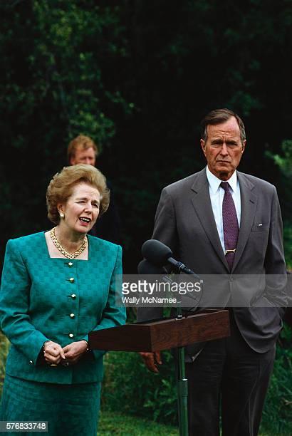 President Bush Listening to Margaret Thatcher Speak
