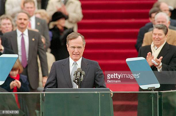 President Bush makes his inaugural address at the Capitol after being sworn in