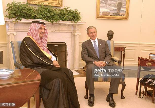 President Bush meeting with Foreign Minister of Saudi Arabia Saud AlFaisal in the Oval Office
