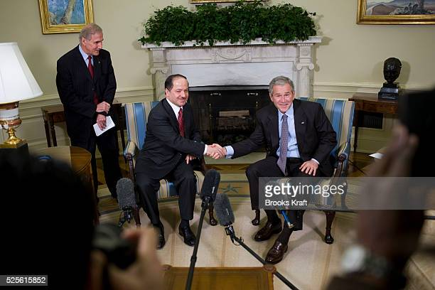 President Bush meets with Iraq's Kurdistan region President Massoud Barzani in the Oval Office of the White House in Washington.