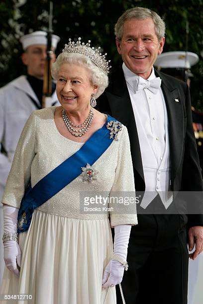 President Bush stands with Britain's Queen Elizabeth II at the North Portico of the White House before a State Dinner in her honor in Washington DC