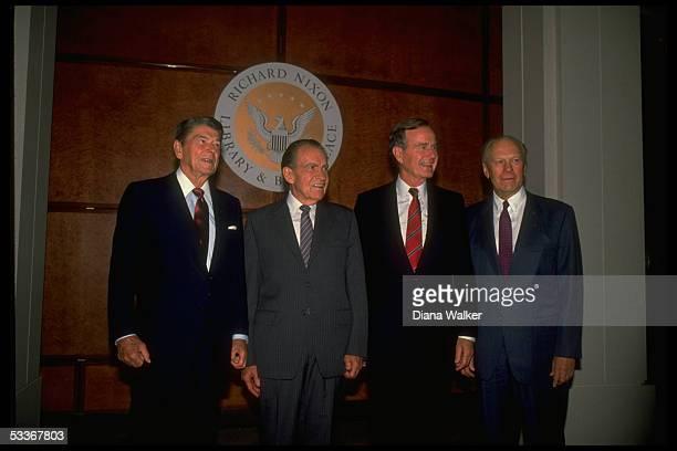 President Bush with former Presidents Ford Nixon Reagan attending opening of Nixon Library in Yorba Linda CA