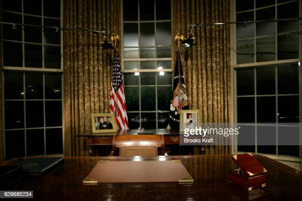 President Bush's desk before a speech to the nation in the Oval Office at the White House in Washington DC