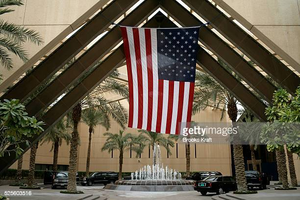 President Bush's motorcade at the United States Embassy in Riyadh, Saudi Arabia.