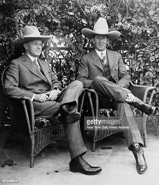 President Calvin Coolidge and champion bronco buster 'Dakota' Clyde Jones at the White House
