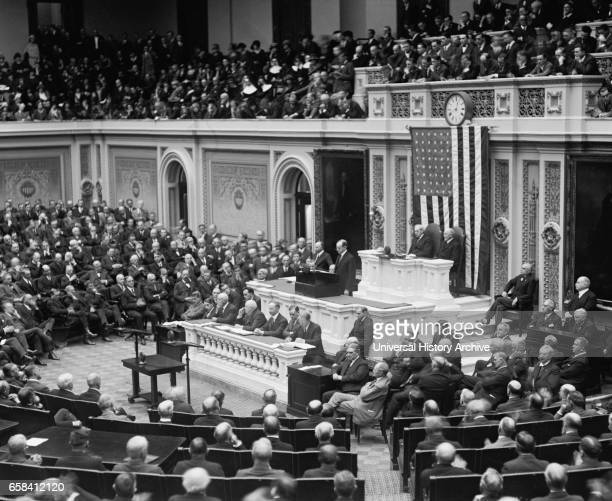 US President Calvin Coolidge during his First Annual Address to Congress Washington DC USA National Photo Company December 6 1923