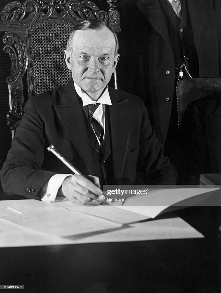 President Calvin Coolidge At His Desk : News Photo