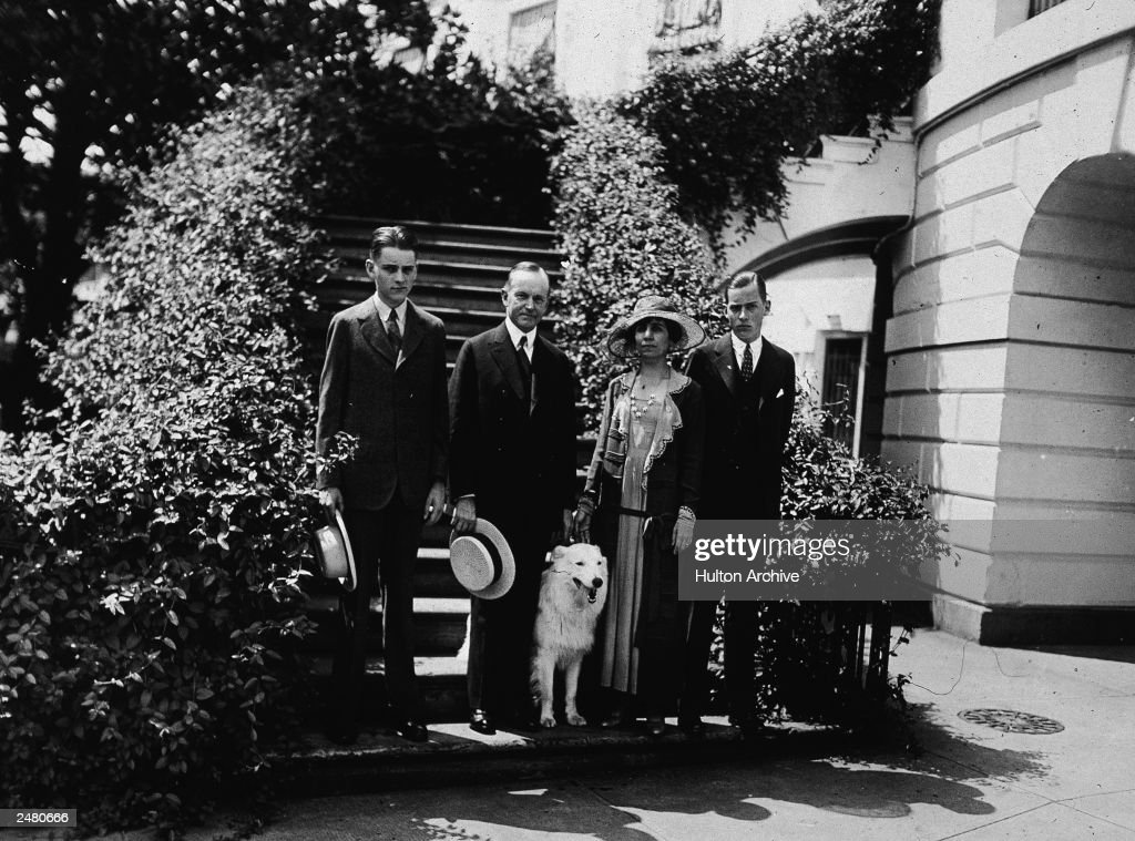 Calvin Coolidge With Family And Dog : News Photo