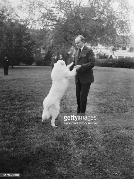 US President Calvin Coolidge with his Dog Rob Roy White House Washington DC USA National Photo Company October 1924