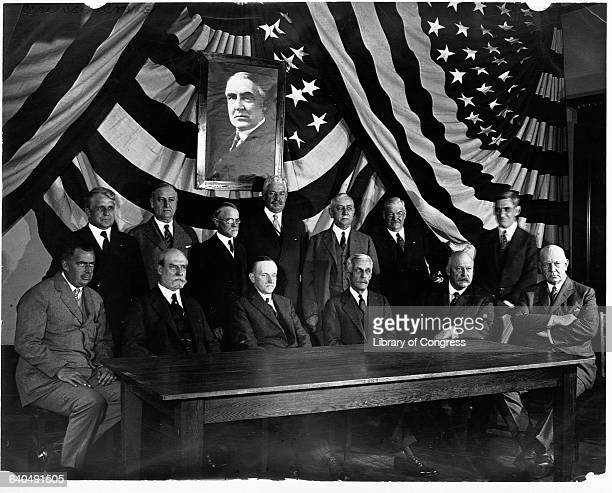 President Calvin Coolidge with other members of Warren Harding's Cabinet including James J Davis Secretary of Labor and Harry M Daugherty Attorney...