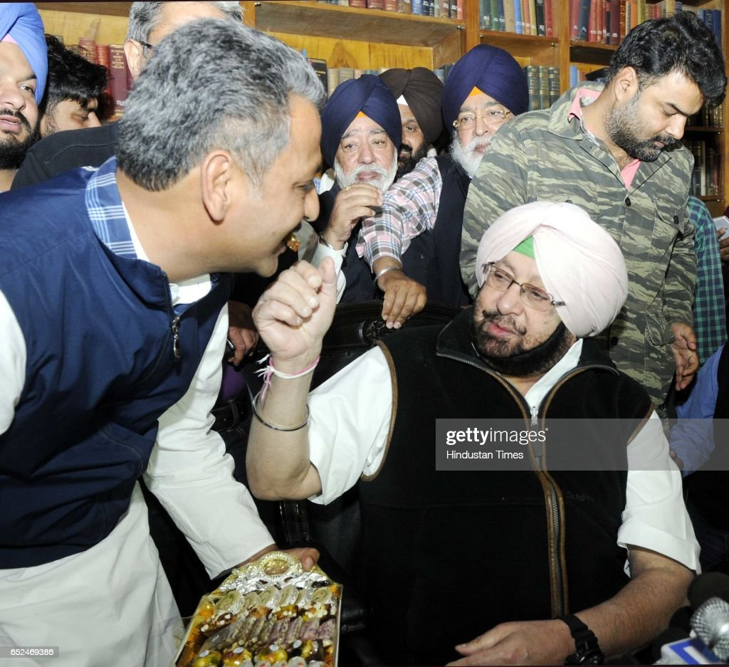 President Captain Amrinder Singh with MLA Vajinder Singla during a press conference after meeting with Governor all set to take oath as the Chief...