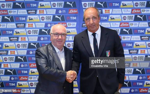 FIGC president Carlo Tavecchio and Italy heah coach Gian Piero Ventura attend a press conference on August 9 2017 in Rome Italy