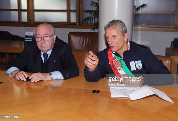 FIGC President Carlo Tavecchio and Mayors national team President Mirko Patron look on during the meeting on November 17 2017 in Rome Italy