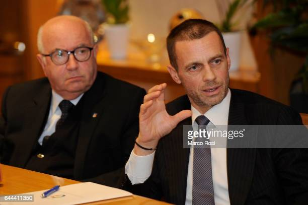 FIGC President Carlo Tavecchio and UEFA President Aleksander Ceferin attend a press conference during the visit at Italian Football Federation...