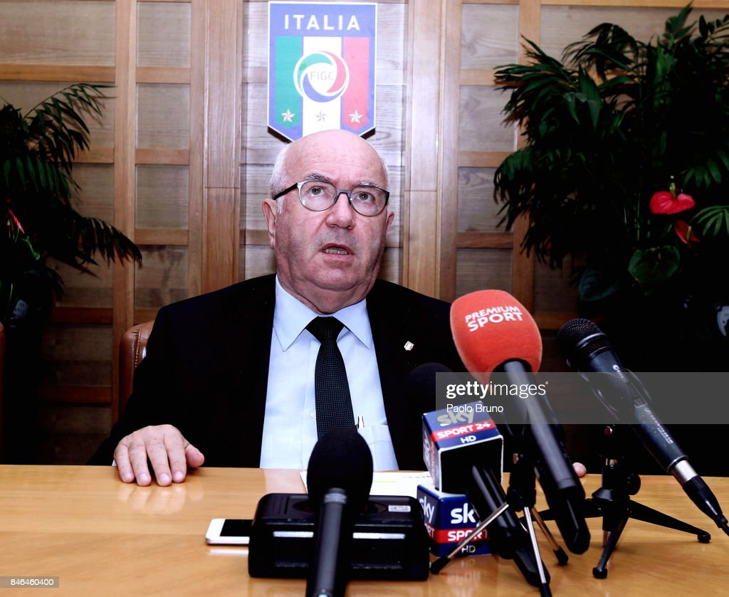President Carlo Tavecchio attends the press conference after the Italian Football Federation (FIGC) federal council meeting on September 13, 2017 in Rome, Italy.