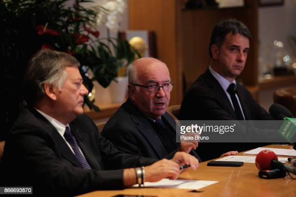 President Carlo Tavecchio attends the press conference after the Italian Football Federation federal council meeting on October 26 2017 in Rome Italy
