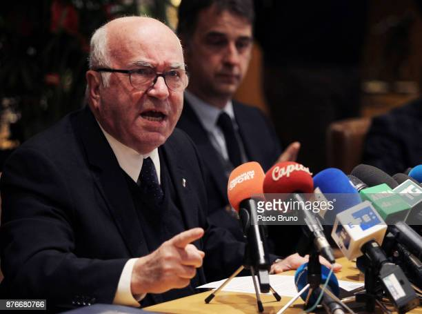 President Carlo Tavecchio attends the press conference after the Italian Football Federation Federal council meeting on November 20 2017 in Rome Italy