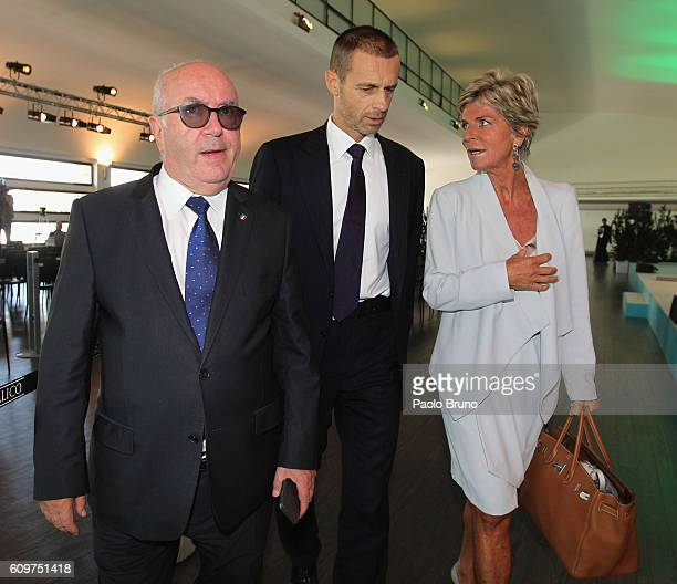 FIGC President Carlo Tavecchio UEFA President Aleksander Ceferin and Evelina Christillin council member FIFA during the UEFA Euro Roma 2020 Official...