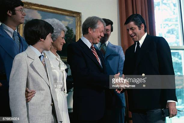 President Carter and Jerry Lewis Shaking Hands