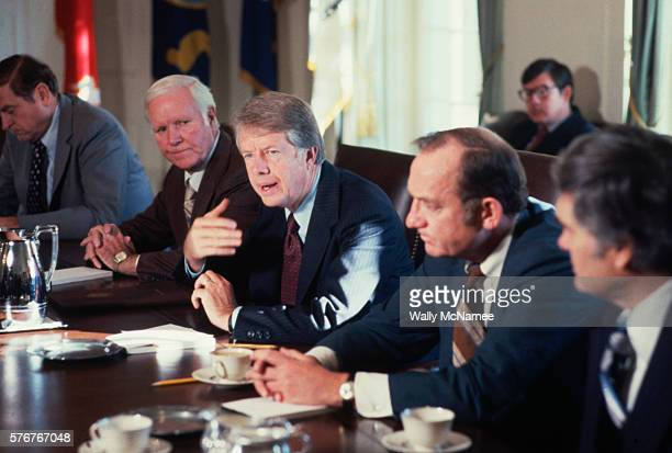 President Carter speaks to members of a Congressional energy panel in October 1977 at a White House conference on the US energy crisis.