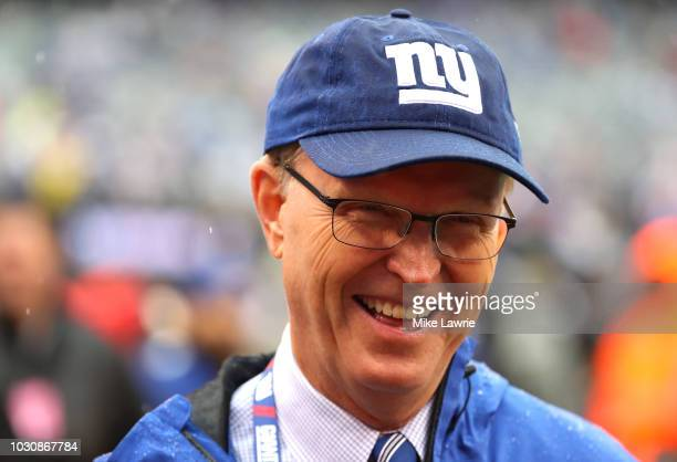 President CEO and coowner of the New York Giants John Mara looks on during warm ups before the game against the Jacksonville Jaguars at MetLife...