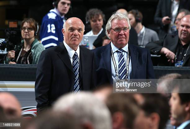 President, CEO and General Manager of the New Jersey Devils Lou Lamoriello and President and General Manager of the New York Rangers Glen Sather look...