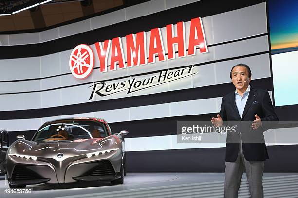 President CEO and Representative Director of Yamaha Motor Co LTD Hiroyuki Yanagi unveils the SPORTS RIDE CONCEPT at the Yamaha booth during the Tokyo...
