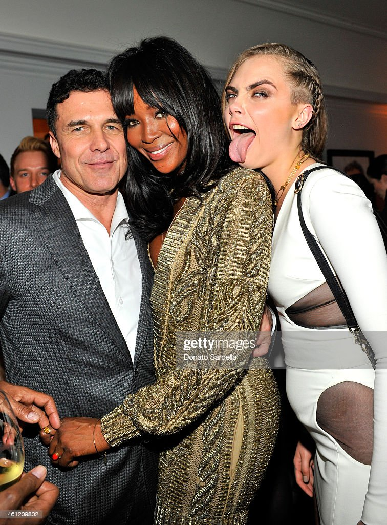 President & CEO, Andre Balazs Properties Andre Balazs, model-actress Naomi Campbell and model Cara Delevingne attend the W Magazine celebration of the 'Best Performances' Portfolio and The Golden Globes with Cadillac and Dom Perignon at Chateau Marmont on January 8, 2015 in Los Angeles, California.