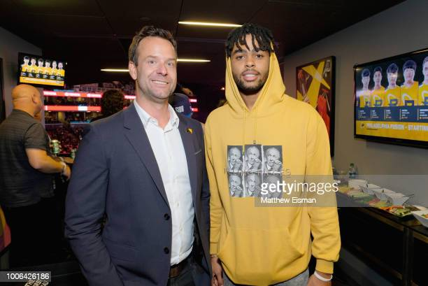 President CEO at Activision Blizzard Esports Leagues Pete Vlastelica and D'Angelo Russell attend Overwatch League Grand Finals Day 1 at Barclays...