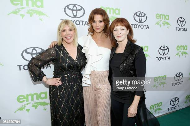 President CEO Debbie Levin Scottie Thompson and Frances Fisher attend the 28th Annual Environmental Media Awards at Montage Beverly Hills on May 22...