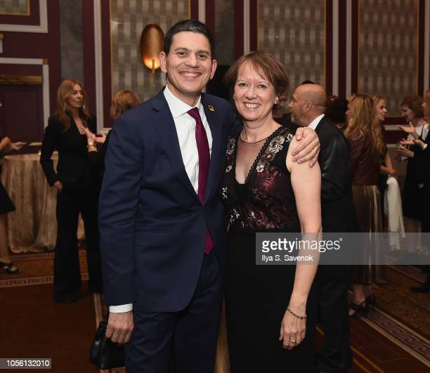 President CEO IRC David Miliband and Louise Shackelton attend the 2018 Rescue Dinner hosted by the IRC at New York Hilton Midtown on November 1 2018...