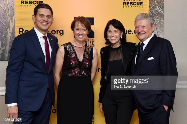 President CEO IRC David Miliband Louise Shackelton Katherine Farley and Jerry Speyer attends the 2018 Rescue Dinner hosted by the IRC at New York...