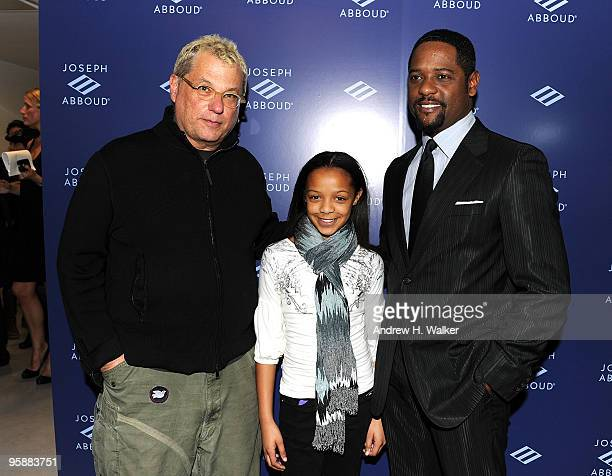 President CEO JA Apparel Corp Marty Staff actor Blair Underwood with his daughter Brielle attend the opening of the new Joseph Abboud state of the...