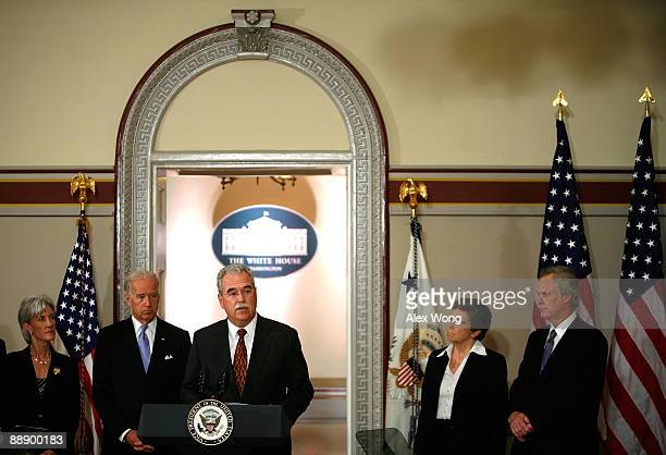 President CEO of American Hospital Association Rich Umbdenstock speaks on health care as Secretary of Health and Human Services Kathleen Sebelius US...