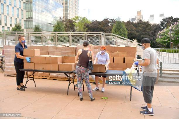 President CEO of Food Bank For New York City Leslie Gordon distributes food during Food Bank For New York City distribution event at Lincoln Center...