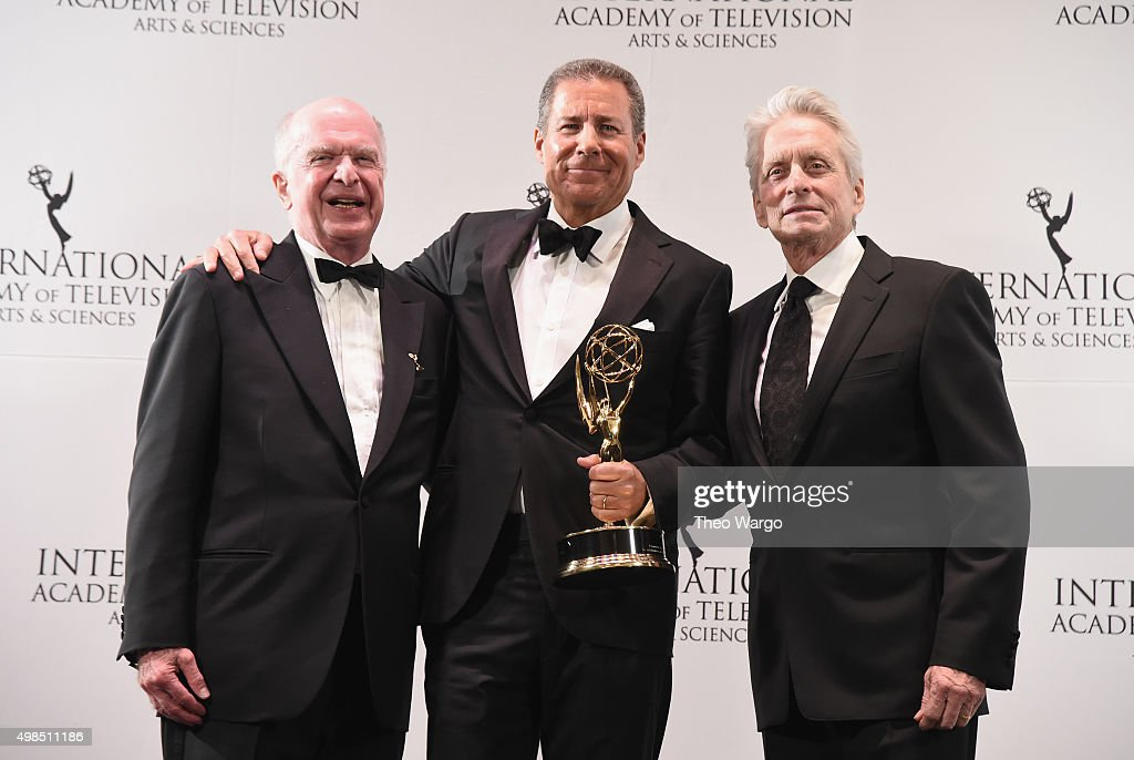 President & CEO of of the The International Academy of Television Arts & Sciences Bruce Paisner, Special Directorate Award Recipient Chairman & CEO, Home Box Office Richard Plepler and Presenter, Actor Michael Douglas attend 43rd International Emmy Awards at New York Hilton on November 23, 2015 in New York City.
