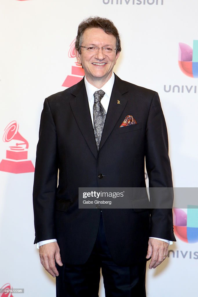President & CEO of the Latin Academy of Recording Arts & Sciences Gabriel Abaroa Jr. poses in the press room during the 16th Latin GRAMMY Awards at the MGM Grand Garden Arena on November 19, 2015 in Las Vegas, Nevada.