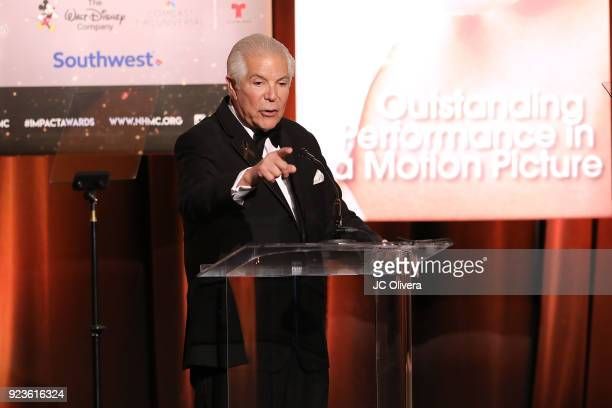 President CEO of the NHMC Alex Nogales speaks onstage during the 20th Annual National Hispanic Media Coalition Impact Awards Gala at Regent Beverly...