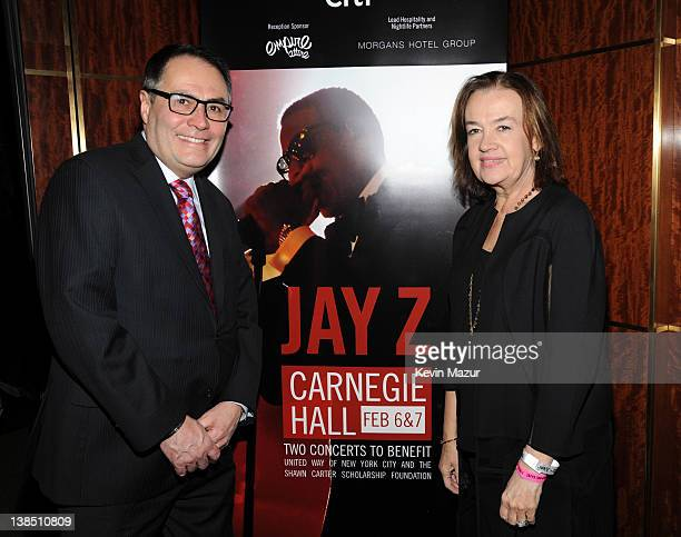 President CEO of The United Way of New York City Gordon J Campbell and Judy McGrath attend JayZ's performance at Carnegie Hall to Benefit the United...