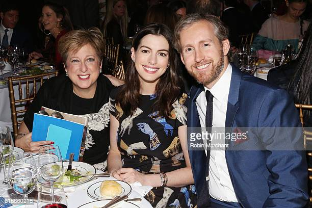 President CEO of the US Fund for UNICEF Caryl M Stern actress Anne Hathaway and actor Adam Shulman attend the World of Children Awards Ceremony on...