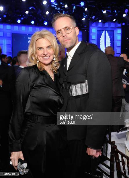 President CEO Sarah Kate Ellis and Justin Tranter celebrate achievements in LGBTQ community at the 29th Annual GLAAD Media Awards Los Angeles in...