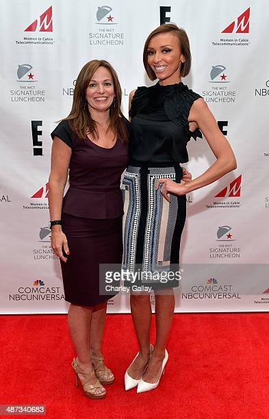 President CEO WICT Maria Brennan and host Giuliana Rancic attend the 2014 Women in Cable Telecommunications Signature Luncheon at Los Angeles...