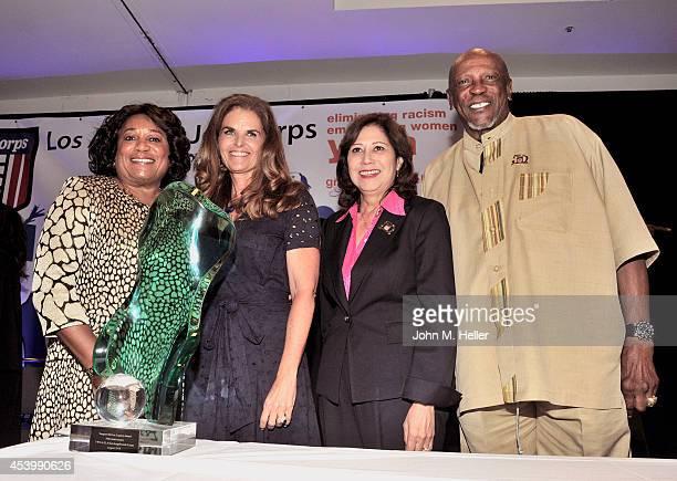 President CEO YWCA GLA Faye Washington Journalist Maria Shriver former Secretary of Labor Hilda L Solis and actor Lou Gossett Jr attend the YWCA GLA...