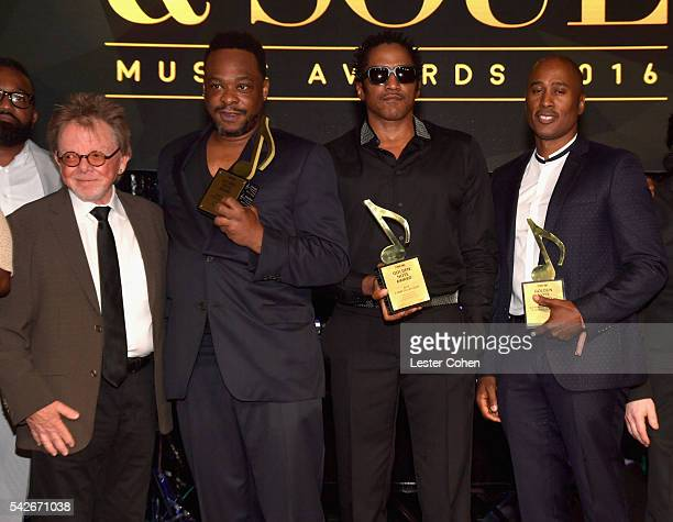 ASCAP President Chairman Paul Williams with rappers Jarobi White QTip and Ali Shaheed Muhammad of A Tribe Called Quest recipients of the ASCAP Golden...
