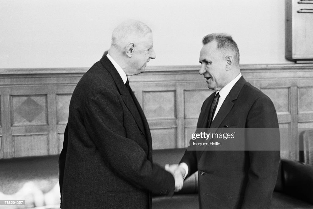 President Charles de Gaulle of France is welcomed to the Kremlin by Chairman of the Presidium of the Supreme Soviet Nikolai Podgorny.