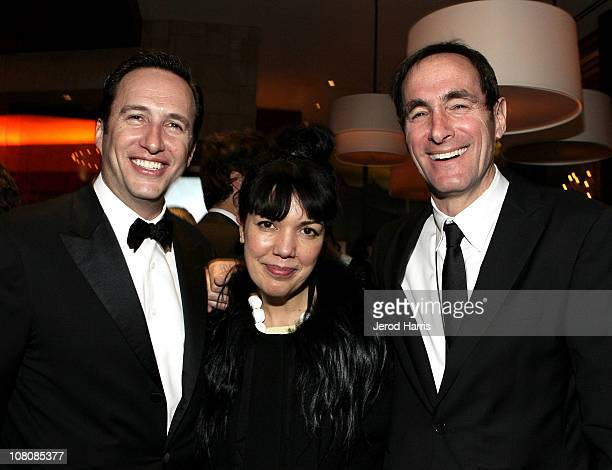 AMC President Charlie Collier EVP GM of Sundance Channel Sarah Barnett and President COO of Rainbow Media Joshua Sapan attend AMC's 2011 Golden Globe...