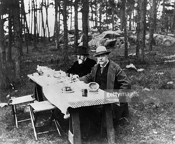 President Chester A Arthur picnics in the woods with a companion during his term of office