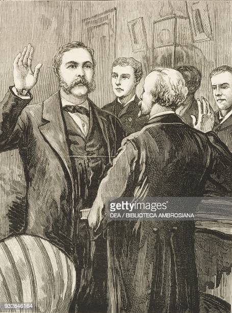 President Chester A Arthur taking the Oath of Office after the death of James A Garfield 130 AM September 20 illustration from the magazine The...